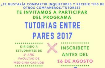 CDE invita a participar en las Tutorías entre Pares 2017