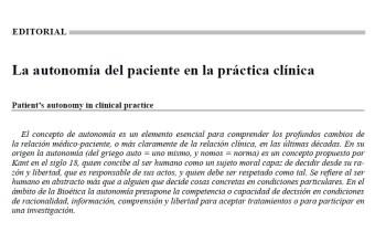 La autonomía del paciente en la práctica clínica