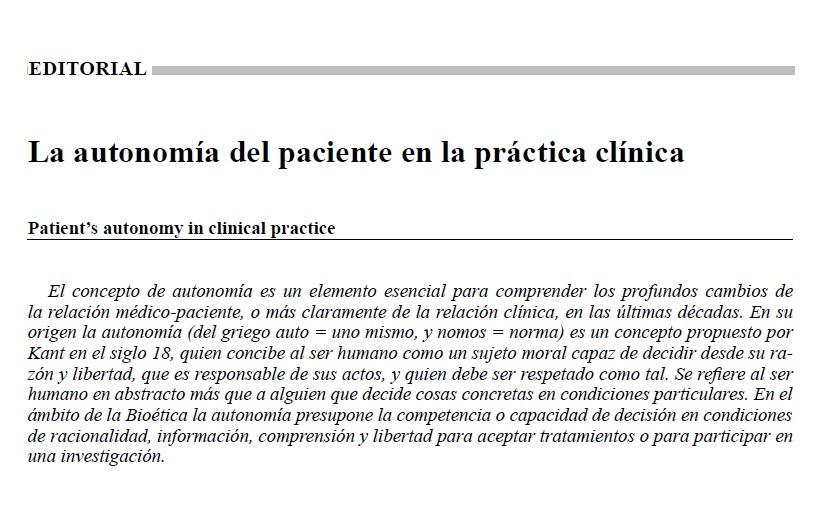 la autonomia del paciente practica clinica
