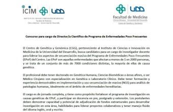 Concurso para cargo de Director/a Científico de Programa de Enfermedades Poco Frecuentes