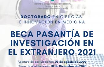 """Doctorado inicia su segunda convocatoria del concurso """"Beca Pasantía de Investigación en el Extranjero año 2021"""""""