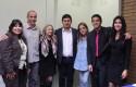 Directora Fonoudiología Concepción, Rodrigo Trujillo, directora Fonoudiología Santiago, estudiante Felipe Muñoz, coordinadora Fonoaudiología Santiago y estudiantes presentadores del evento