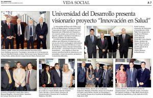 Lanzamiento proyecto Innovación en Salud UDD - El Mercurio 25 de diciembre 2013