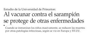 Al vacunar contra el sarampión se protege de otras universidades