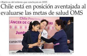 Chile está en posición aventajada al evaluarse las metas de salud OMS - El Mercurio 11 de sept 2014