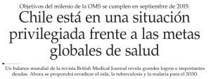 Chile está en una situación privilegiada frente a las metas globales de salud - El Mercurio 23 de abril
