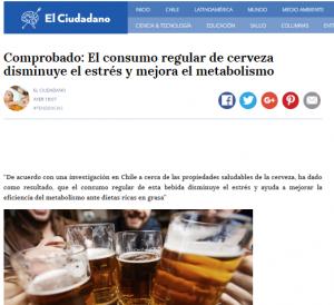 Comprobado. El consumo regular de cervez disminuye el estrés y mejora el metabolismo