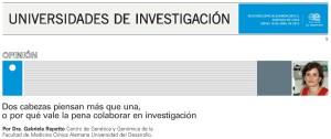 Dos cabezas piensan más que una, o por qué vale la pena colaborar en investigación - Ediciones Especiales El Mercurio 16 de abril 2015