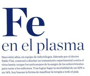 Fe en el plasma - Revista Qué Pasa 27 de febrero 2015