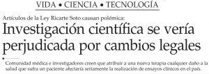 Investigación científica se verá perjudicada por cambios legales