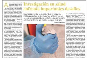 Investigación en salud enfrenta importantes desafíos