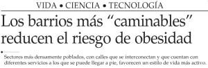 Los barrios más caminables reducen el riesgo de obesidad - El Mercurio 18 de junio 2014