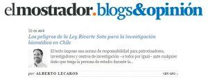 Los peligros de la Ley Ricarte Soto para la investigación biomédica en Chile - El Mostrador 20 de abril 2015