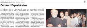 Médicos UDD se lucen en montaje teatral - Diario Concepción 20 de diciembre 2014