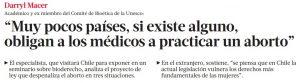 Muy pocos países, si existe alguno, obligan a los médicos a practicar un aborto - La Tercera 2 de marzo 2015