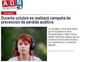 Prevención Pérdida Auditiva Radio ADN - 1 de octubre 2013