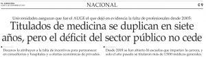 Titulados de medicina se duplican en siete años pero el déficit del sector público no cede - El Mercurio 1 de dic 2014