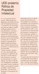 UDD presenta Política de Propiedad Intelectual - Diario Financiero - 13 de agosto 2014