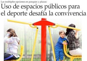 Uso de espacios públicos para el deporte desafía la convivencia - El Mercurio 21 de abril 2014