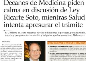 Decanos de Medicina piden calma en discusión de Ley Ricarte