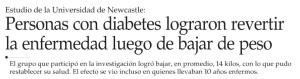 Personas con diabetes lograron revertir la enfermedad luego de bajar de peso