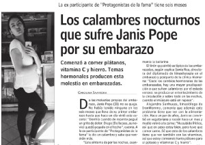 Los calambres nocturnos que sufre Janis Pope por su embarazo