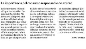 Carta al Director Aspartame_Rinat Ratner_Estrella Concepción