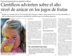 Científicos advierten sobre alto nivel de azúcar en los jugos de fruta - El Mercurio 11-02-2014