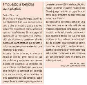 Impuesto a bebidas azucaradas - Carta al Director Diario Financiero y El Pulso Rinat Ratner, 15 de abril 2014